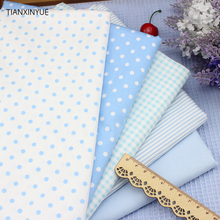 Blue grid and Dot Cotton Fabric Fat Quarter Quilting Patchwork Tissue Baby bed sheet fabric For Sewing 5pcs fabric 40cm*50cm(China)