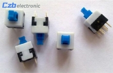 10Pcs/Lot 8X8mm Cap Self-locking Type Square Button Switch Blue 100000 Times Service Life Free Shipping