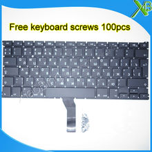 "Brand New RU Russian keyboard+100pcs keyboard screws 2010-2015 Years For MacBook Air 13.3"" A1369 A1466(China)"