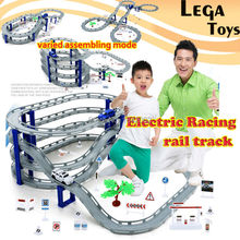 Electric Racing rail car kids train track model toy baby Railway Track Racing Road Transportation Building Slot Sets 3 stlyes(China)