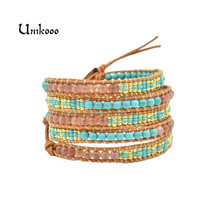 Fashion Pink Wrap Bracelet for Women Seed beads Design Handmade Multilayer Natural Stone Wax Cord Rope Jewelry(China)