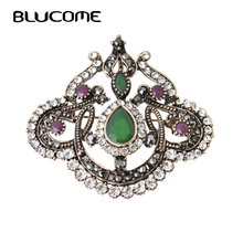 New Design Green Acrylic Brooch Pins Water Drop Flower Women Brooches Antique Gold Crystal Hair Accessories Large Safety Pins(China)