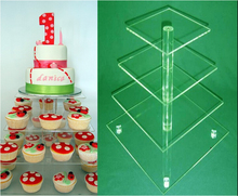 Free shipping 4 tier cake and small acrylic cake tower Display Stand Party 4 Tier Acrylic Cupcake Stand(China)