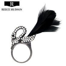 fashion new Unique design rhinestone feather black swan rings for women Girl Party ring Jewelry Wholesale Free Shipping
