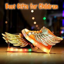 Hot Sale New Boy Girls Favoriate USB LED Light Up Sneakers Children Kids Unisex Cool Wings Shape Non Slip Sneaker Shoes
