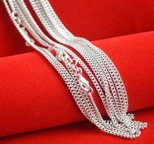 "Hot Sale! 10pcs/lot Fashion Silver Necklace Chain,2mm 925 Jewelry Silver Plated Curb Chain Necklace 16""-30"",pick length!"