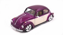 Welly 1:24 Volkswagen Beetle Hard Top Purple White Diecast Model Car Vehicle Toy New in Box