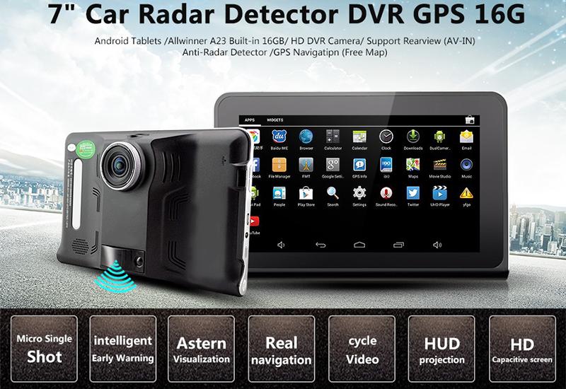 Car DVR Dash Cam - Anti-Radar Detector, GPS Navigation, Android OS, Quad-Core CPU, 7 Inch Display, WiFi, 1_2.5 Inch CMOS20170323_0140