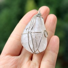 Wholesale AAA+ Natural Unique White Clear Crystal Quartz Pendant  Twine Irregular Stone DIY Fit Necklace For Jewelry Making