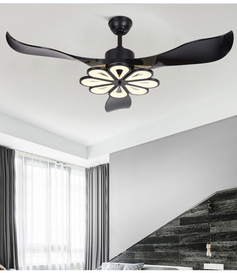 Fashion Style New Arrival Pendant Light With Fans Black White Combo Fan Leaf Restaurant Living Room Bedroom Ceiling Mounted 3 Leaf Fans Light Complete In Specifications Ceiling Lights & Fans Lights & Lighting