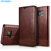 KEYSION Flip Case for Samsung Galaxy S7 S7 Edge PU Leather Luxury Wallet Card Slots Soft TPU Kickstand Back Cover for G930 G935(China)