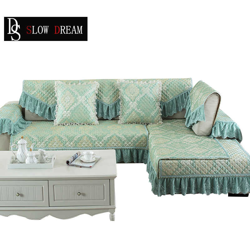 SLOWDREAM Euro Sofa Cover Couch Green Luxury Lace Sofa Living Room Modern  Plaid Corner Sofa Lower Pile Cushion Seat Cover
