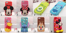 3D Cartoon Mickey Minnie Mouse Chip Sulley Monsters Stitch  Winnie Bear Silicon Case Cover For iPhone 4 4G 4S / 5 5S Phone Cases