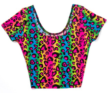 X-103 New 2015  Neon Leopard striped Print Cap Sleeve Crop Top summer short t shirts sexy shirts