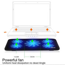 "New Portable Slim 5 Fans 2 USB prots Notebook Cooling Pad Cooler Mat For Up To 17"" Laptop Computer USB Fan Stand and USB cable"