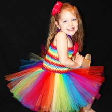 Baby Girl Rainbow Bright Couture Tutu Dress and Daisy Hair Clip Set Infant Halloween Christmas Costume Photo Props TS099