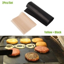 2pcs/Set Reusable No Stick BBQ Grill Mat Sheet Hot Plate Portable Easy Clean OutDoor Cooking Tool  SF207