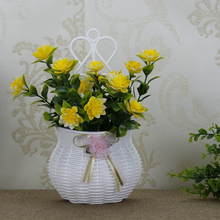 High Quality White Hang on wall Plastic Flower Vase Home DecorationDesigned Vase Brand New(China)