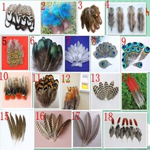 Wholesale 10 PCS beautiful pheasant tail & peacock feathers 4-20cm/2-8inches(China)