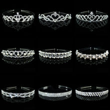 Wholesale Lot Style Bridal Pearl Rhinestone Crown Heart Pageant Women Children Tiaras Headband Wedding Jewelry Accessories(China)