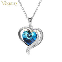 VOGEM Ocean Blue Heart Necklace & Pendants For Women Austria Crystal Silver Plating Double Love Chain Wife Promise Jewelry