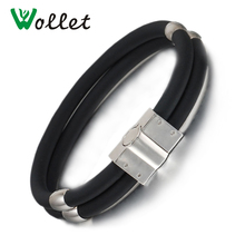 Wollet Jewelry Double Row Black Rubbers Wristbands Bio Magnetic Custom Stainless Steel Silicone Bracelet Bangle for Men Women(China)