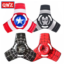 Buy QWZ New Captain America Hand Spinner Super Hero EDC Metal Tri Fidget Spiner Superman Spiderman Finger Gyro Toys Kids Gifts for $1.99 in AliExpress store