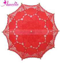 Retail Battenburg Wedding Lace Umbrella Parasol Red Color Party Supplier 100% Cotton