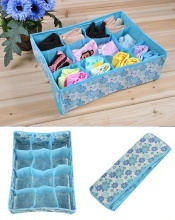 12 Cell Socks Underwear Ties Drawer Closet Home Organizer Storage Box Case Blue Free SHipping(China)