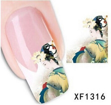 1 sheet Vintage Water Transfer Nail Decals Tattoo Stickers Wraps DIY Traditional Chinese Art Beauty Decoration Tools SAXF1316