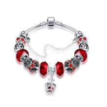 DIY Jewelry Red Beads Bracelet Fashion Crown Charm Pulseras Crystal Silver Bracelets for Women Gifts