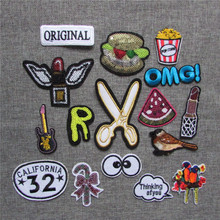 brand new cartoon fashion 2016 year high quality hot melt adhesive applique embroidery patches stripes DIY clothing accessory