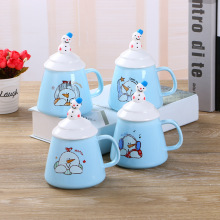 Creative minimalist ceramic cup, personalized cute cartoon snowman coffee milk cup, three-dimensional doll pattern ceramic cup(China)
