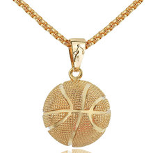 Basketball Pendant Necklace Gold Stainless Steel Chain Necklace Women Men Sport Hip Hop Jewelry Basketball Lovers Gift(China)