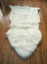 White Nice Looking Faux Sheepskin Chair Cover Pad Soft Carpet Hairy Plain Skin Area Rugs Bedroom Faux Carpet Mat