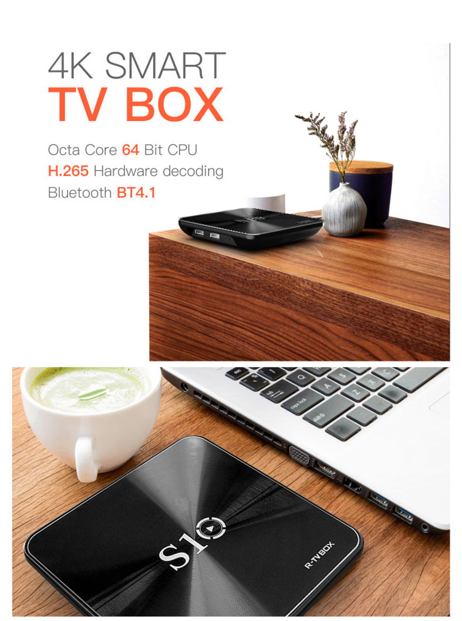 image for NEW R-TV BOX S10 Android 7.1 KODI 17.4 Smart TV Box Octa Core 4k 2/3G