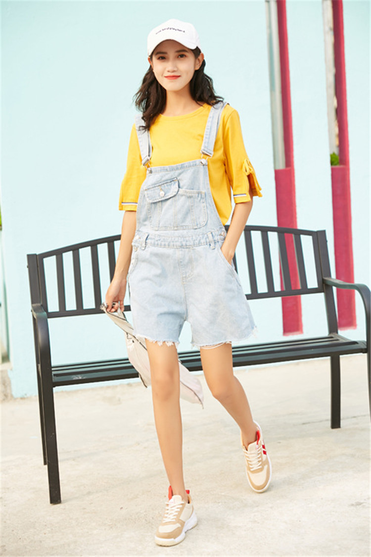 Summer new college style sweet diagonal personalized pockets skirts pants denim shorts female (5)