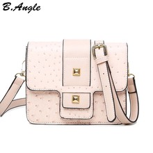 High quality rivet and ostrich messenger bag women bag school bag flap bag dollar price