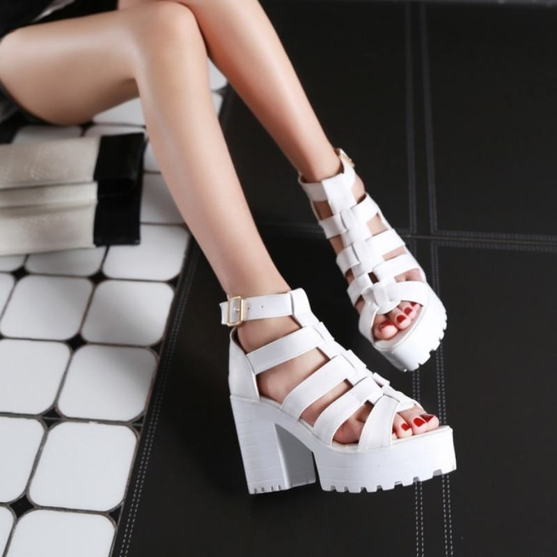 New Fashion Rome Style Shoes, Women Solid Peep Toe Gladiator Shoes, Buckle Platform Women Sandals 13