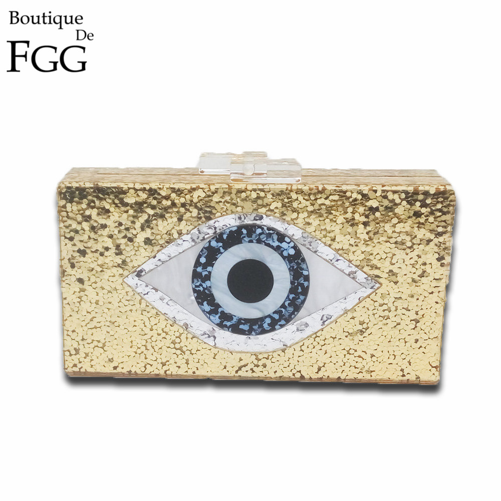 Eyes Print Shiny Acrylic Gold Evening Clutch Box Bag For Women Wedding Party Fashion Handbags Chain Shoulder Bag Messenger Bags<br>