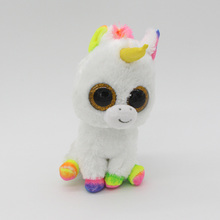 "Ty Beanie Boos Big Eyes 6"" White Unicorn with Rainbow Hair Plush Animal Toys"