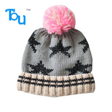 Tou 2015 Infant Hats Baby Children Knitted Hats Gray Star Pattern Beanie Hat Autumn Winter Fashion Crochet Hats free shipping(China)