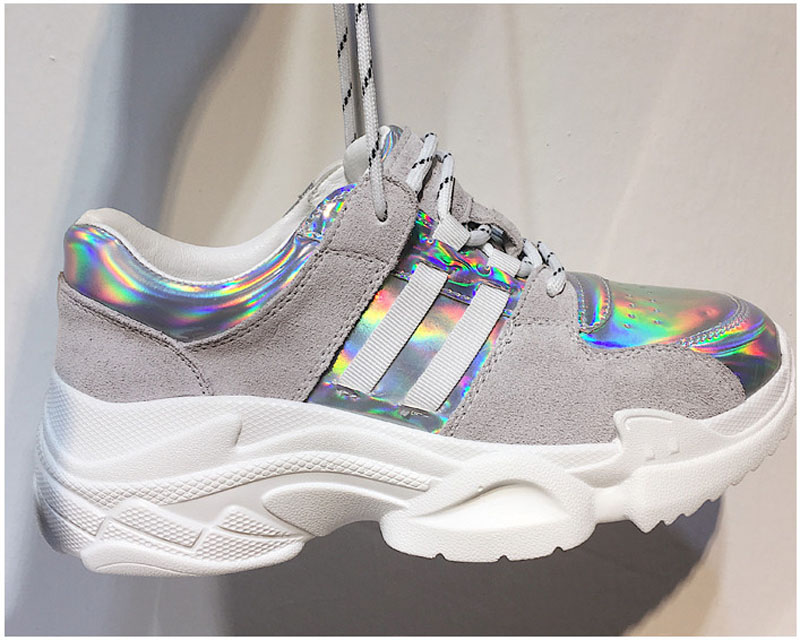 2018 Spring Autumn Shoes Women Platform Shoes Lady Lace Up Casual Shoe Creepers Harajuku Punk Style Girl Gold Silver Shoes Woman (2)
