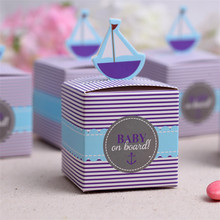20pcs/lot Fashionable Sailing Boat Paper Candy Box for Baby Shower/Birthday Favors and Gifts Kids Party Decoration