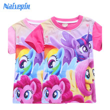 Baby Girls Cartoon T Shirt Girl Cute My Little Girl Pony T-Shirt Kids 100% Cotton Tee Tops clothes Children Summer Clothing(China)