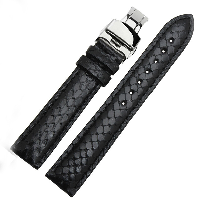 Watchbands 18mm 19mm 20mm 21mm 22mm New Black Genuine Python Skin Leather Watch Strap Bracelets Rose Gold Steel Watch Buckle<br><br>Aliexpress