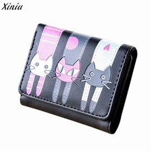 2017 Famous Brand Wallet Women PU Leather Women Cat Pattern Coin Purse Short Wallet Card Holders Handbag carteira feminina