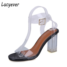 Lucyever 2018 Summer Fashion Open Toe PVC Jelly Sandals Thick High Heels Transparent Pumps Sexy Ankle Strap Party Shoes Woman(China)