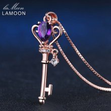 LAMOON Crown Key Pendant Necklace 6x4mm 0.4ct Natural Teardrop Amethyst 925 Sterling Silver Jewelry Rose Gold Color S925 LMNI004(China)