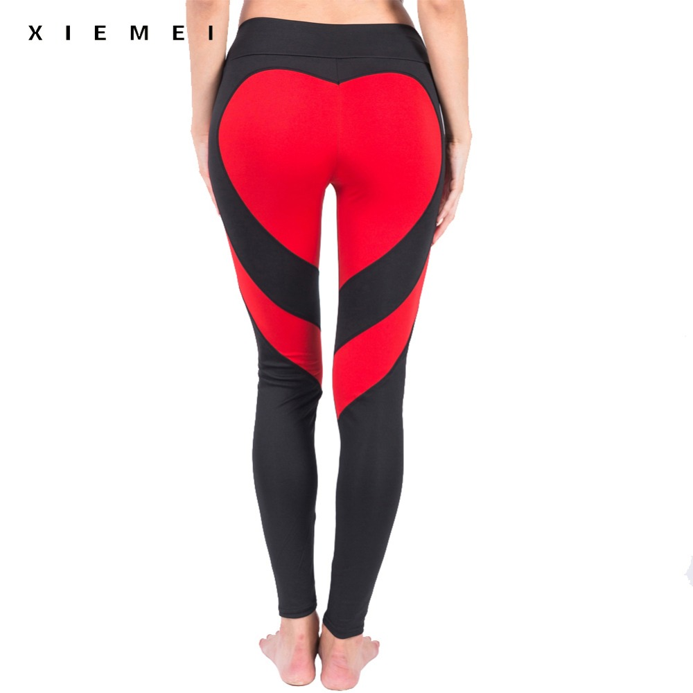 women patchwork sporting leggings red heart shape high waist Elasticity sweat pants jeggings workout gyms legging femme active